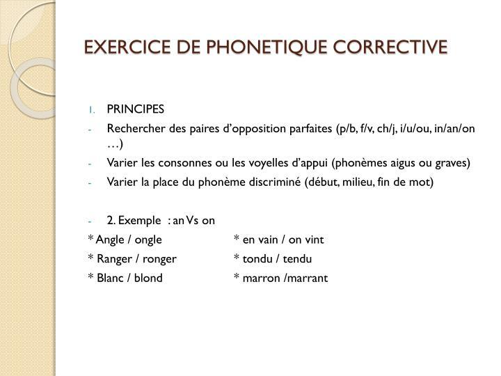 EXERCICE DE PHONETIQUE CORRECTIVE