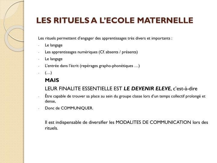 LES RITUELS A L'ECOLE MATERNELLE