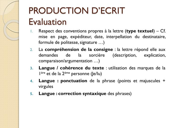 PRODUCTION D'ECRIT