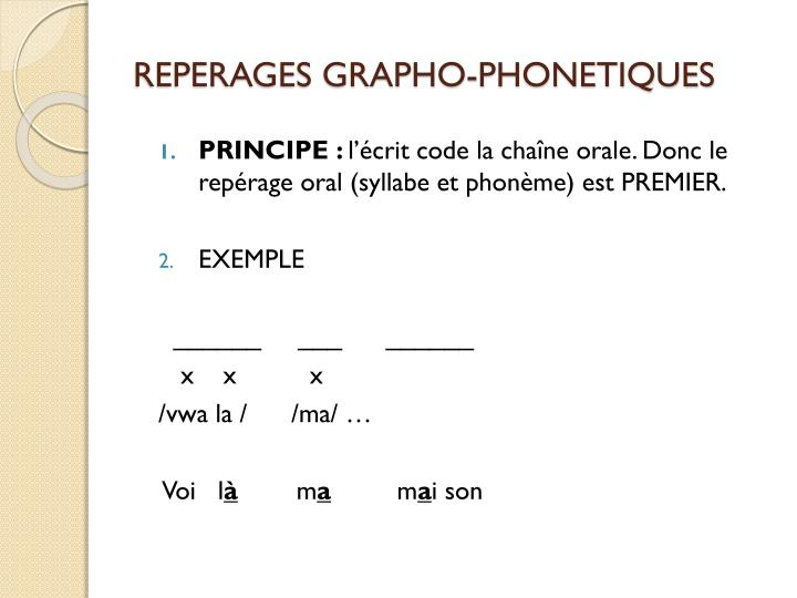 REPERAGES GRAPHO-PHONETIQUES