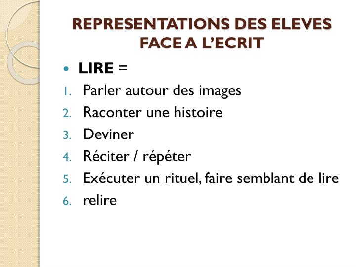 REPRESENTATIONS DES ELEVES FACE A L'ECRIT