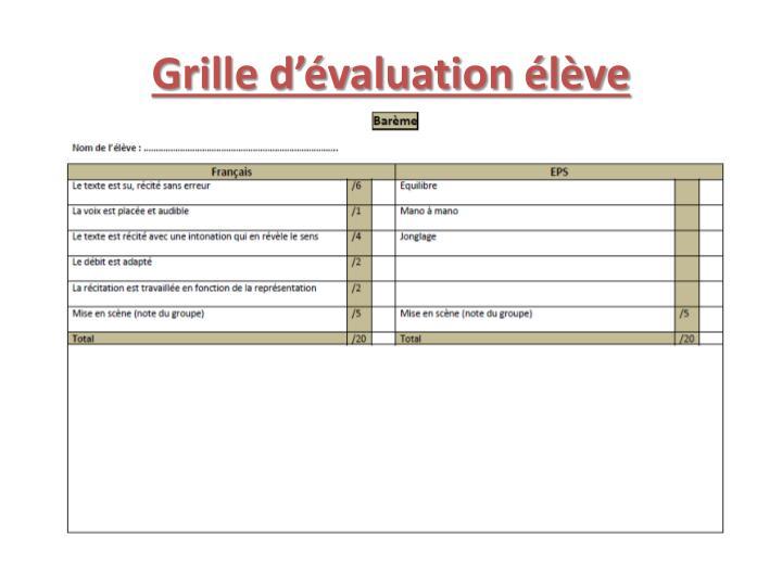 Grille d'évaluation élève