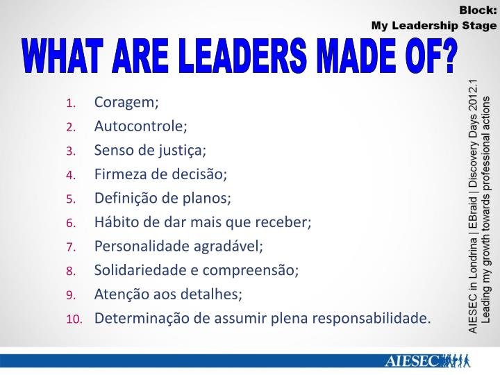 WHAT ARE LEADERS MADE OF?