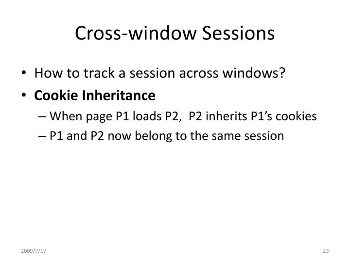 Cross-window Sessions