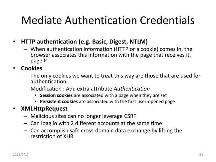 Mediate Authentication Credentials
