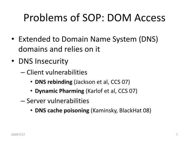 Problems of SOP: DOM Access
