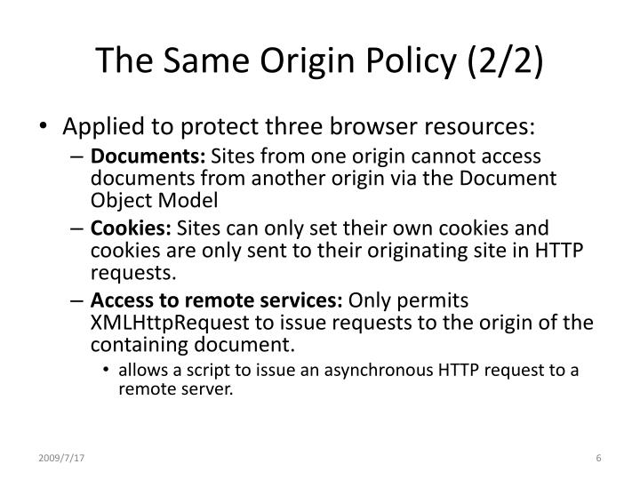 The Same Origin Policy (2/2)