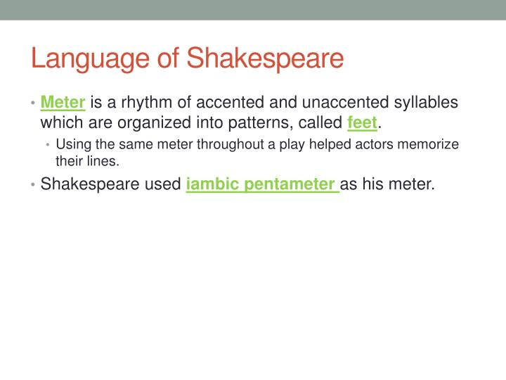 Language of Shakespeare