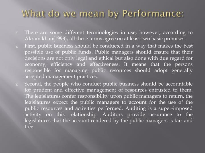 What do we mean by performance