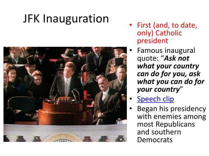 jfk inaugural speech analysis Inaugural of john f kennedy (january 20, 1961) inaugural address, he must have been acutely aware that his legitimacy as the american.