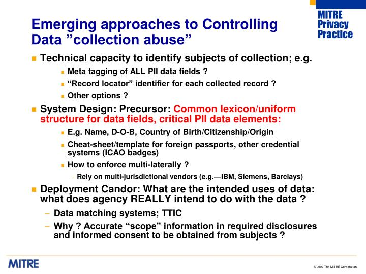 "Emerging approaches to Controlling Data ""collection abuse"""