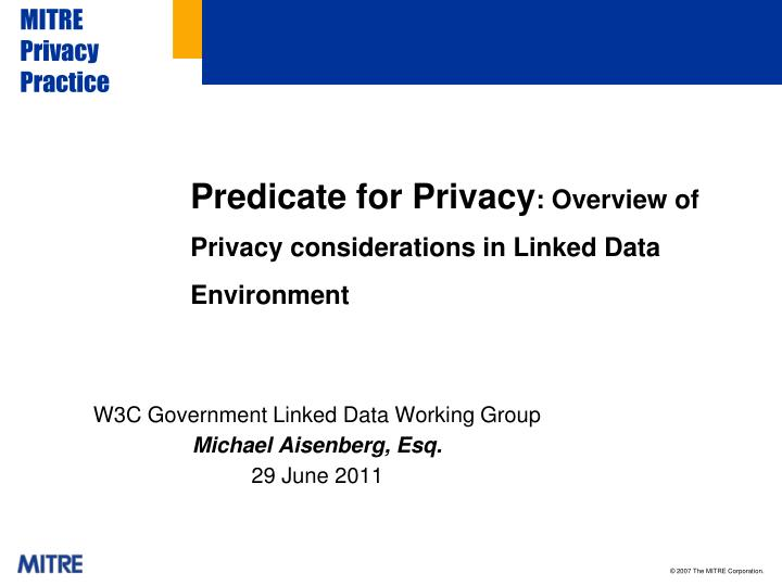 Predicate for privacy overview of privacy considerations in linked data environment