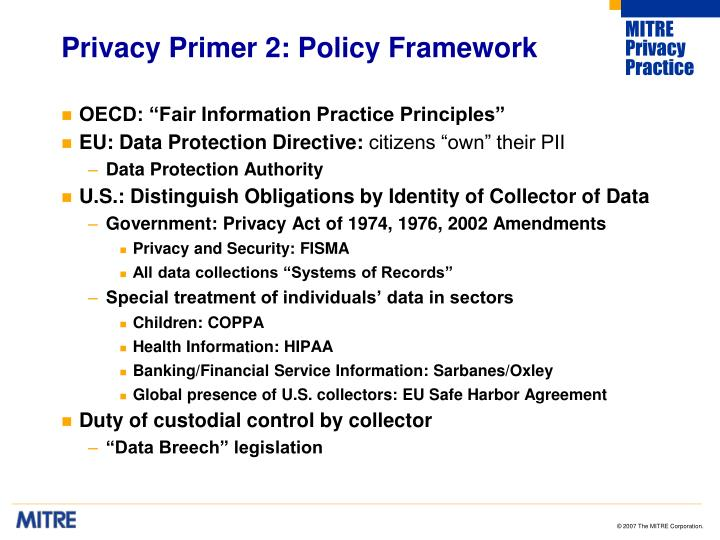 Privacy primer 2 policy framework