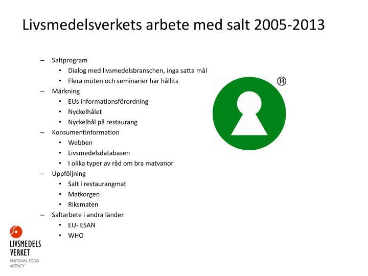 Livsmedelsverkets arbete med salt 2005-2013