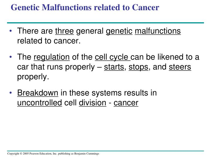 Genetic Malfunctions related to Cancer