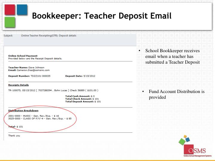 Bookkeeper: Teacher Deposit Email