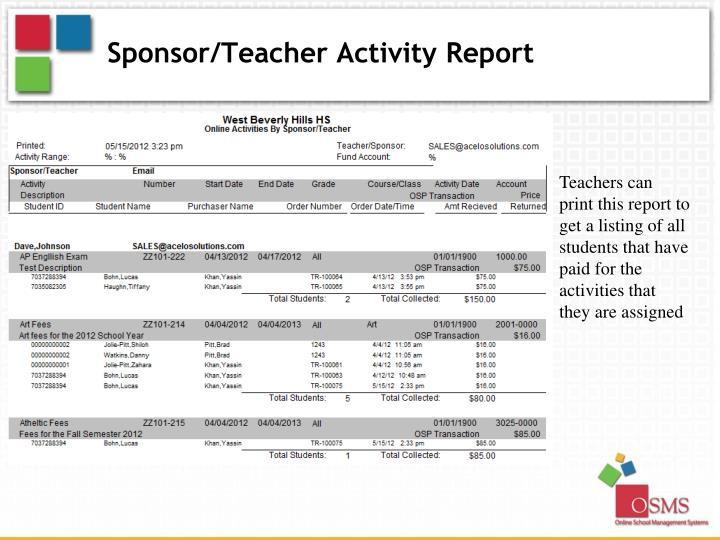 Sponsor/Teacher Activity Report