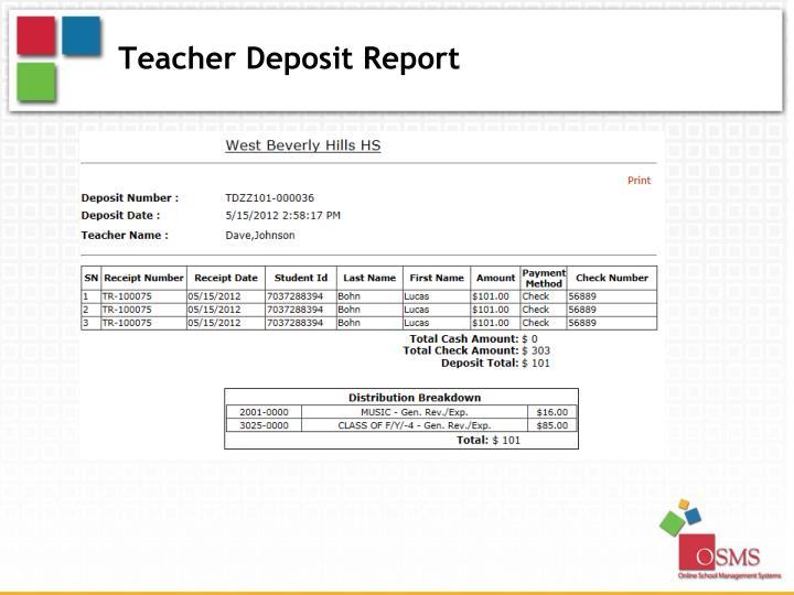 Teacher Deposit Report