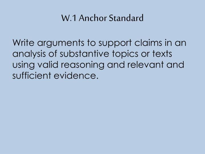W.1 Anchor Standard