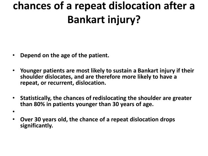 chances of a repeat dislocation after a