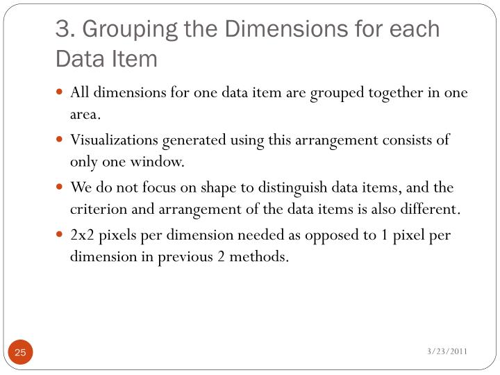3. Grouping the Dimensions for each Data Item