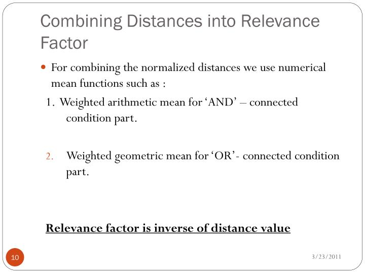 Combining Distances into Relevance Factor