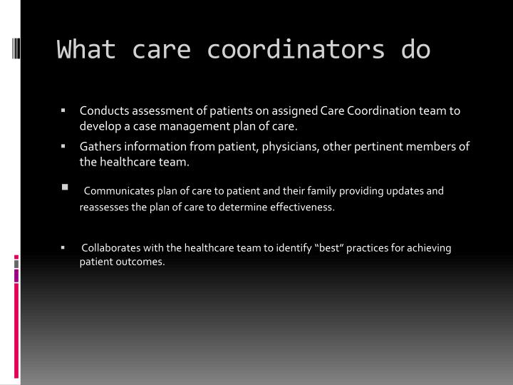 What care coordinators do