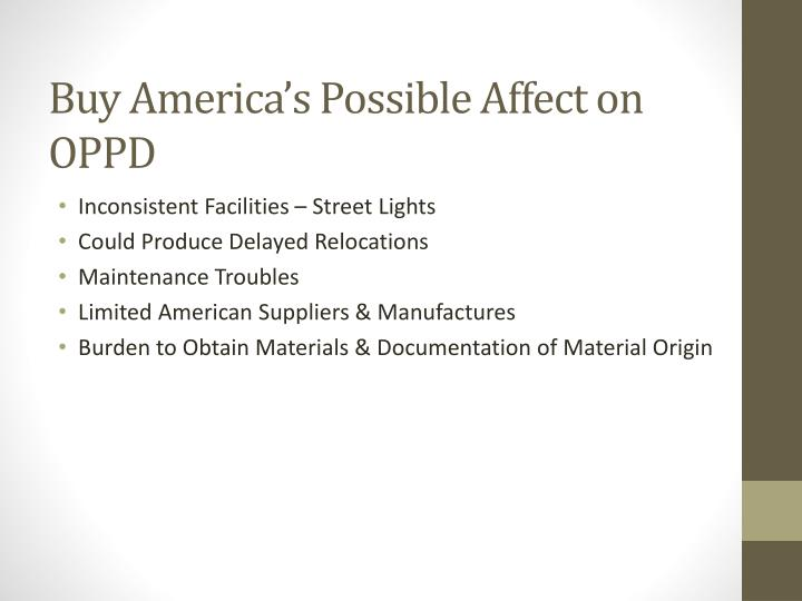 Buy America's Possible Affect on OPPD