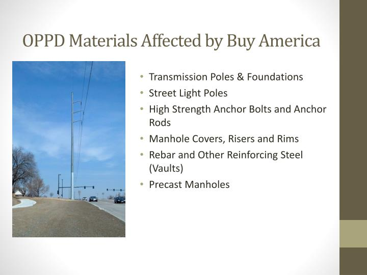OPPD Materials Affected by Buy America