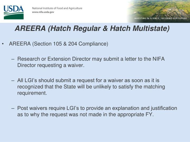 AREERA (Hatch Regular & Hatch Multistate)