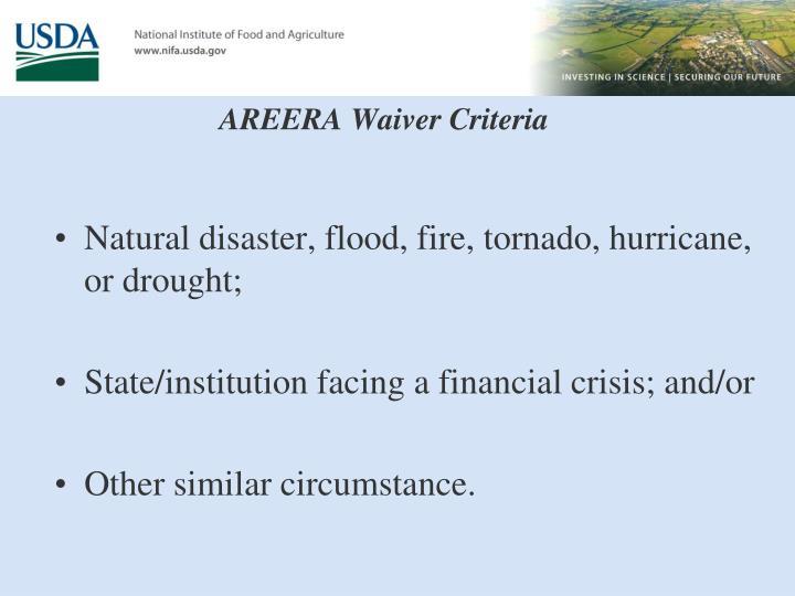 AREERA Waiver Criteria