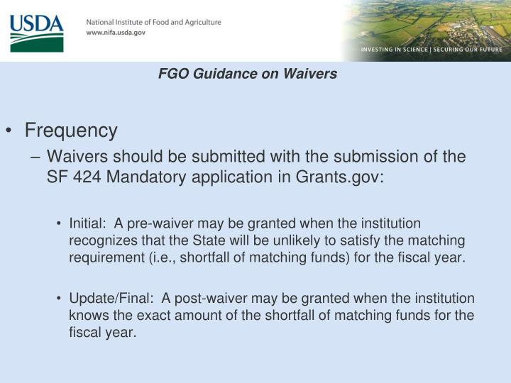 FGO Guidance on Waivers