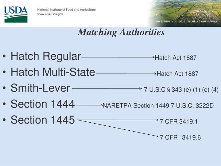 Matching Authorities