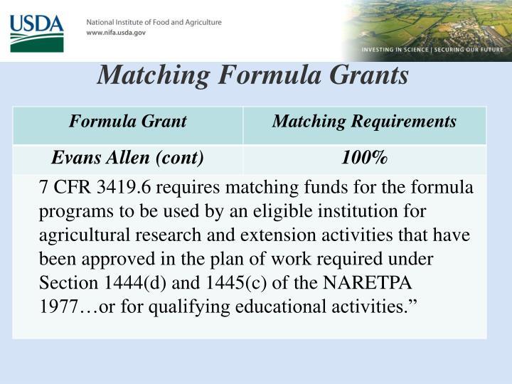 Matching Formula Grants