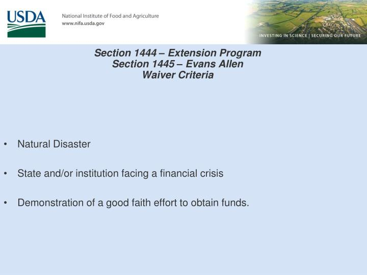 Section 1444 – Extension Program