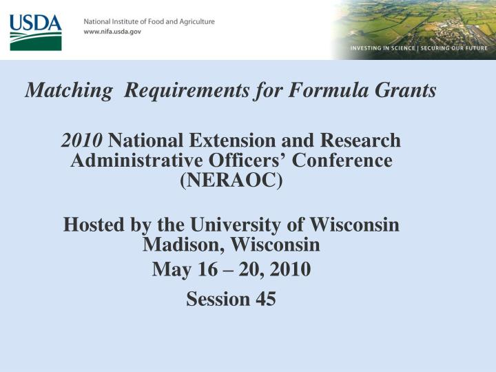 Matching  Requirements for Formula Grants