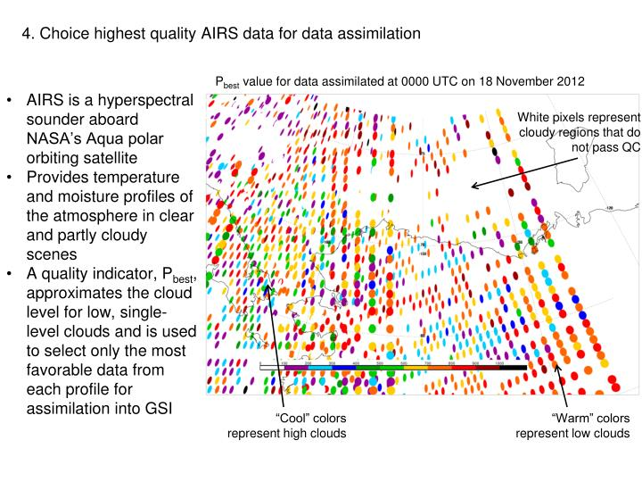 4. Choice highest quality AIRS data for data assimilation