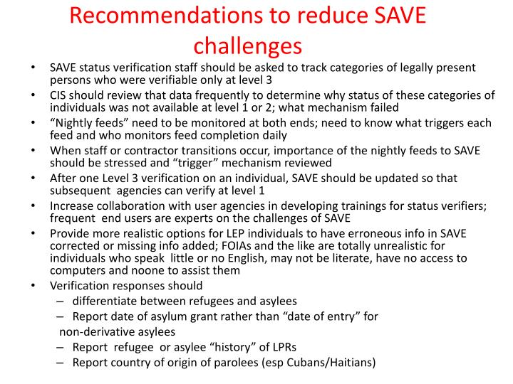 Recommendations to reduce SAVE challenges