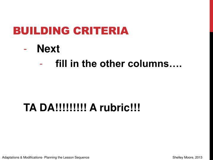 Building criteria
