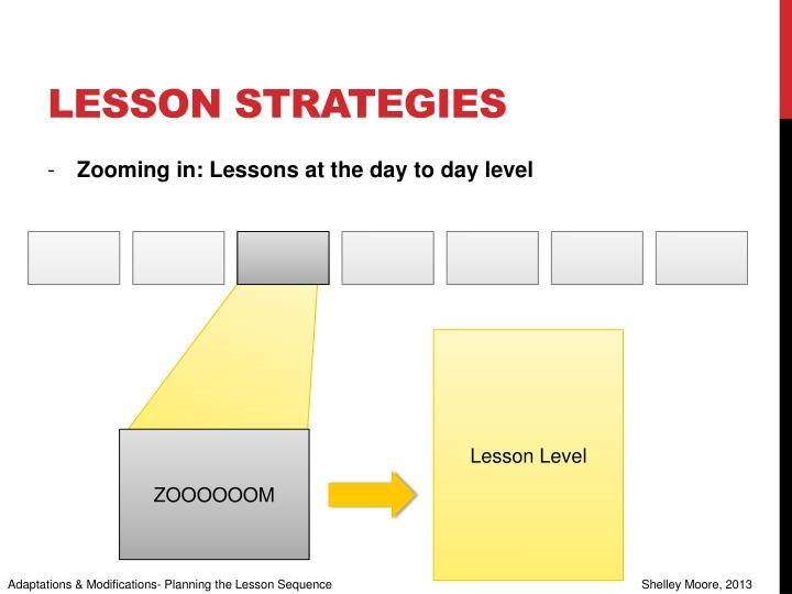 Lesson strategies