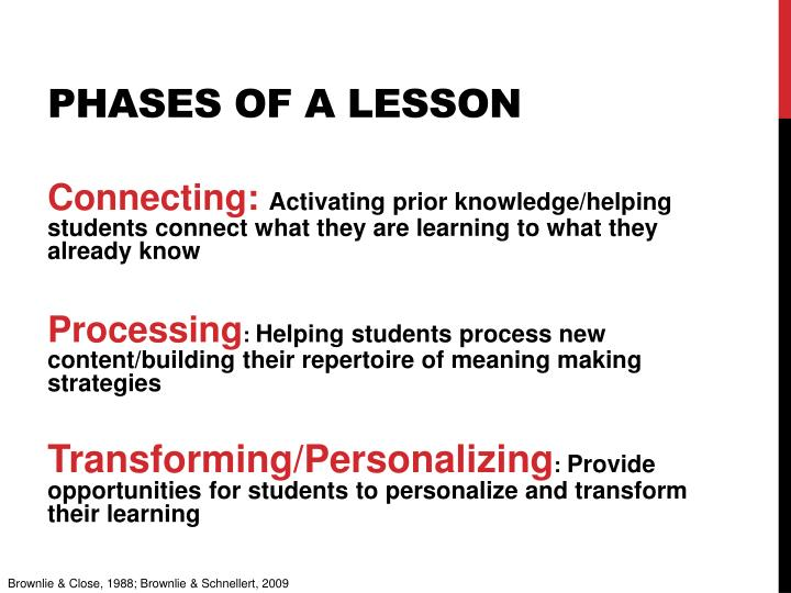 Phases of a lesson
