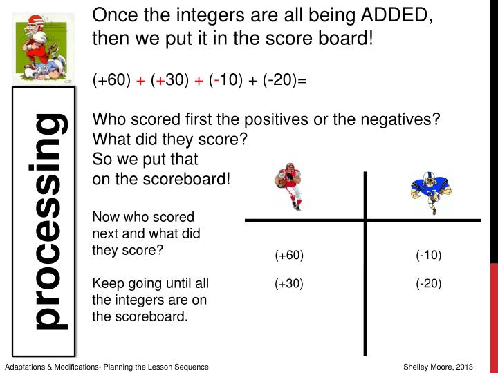 Once the integers are all being ADDED, then we put it in the score board!