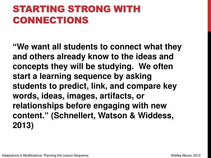 Starting strong with connections