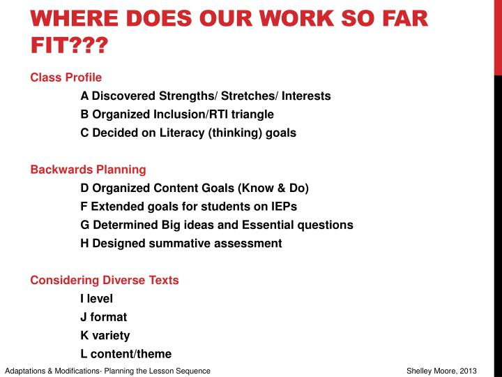 Where does our work so far fit???