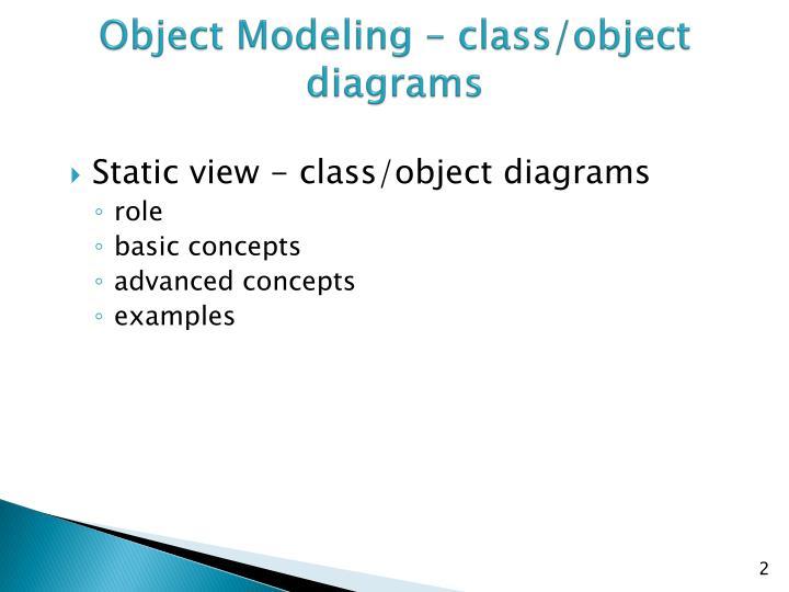 Object Modeling – class/object diagrams