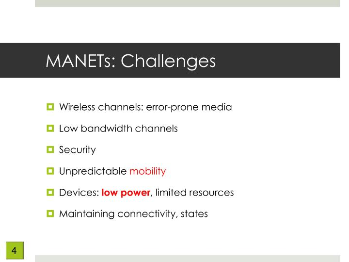 MANETs: Challenges