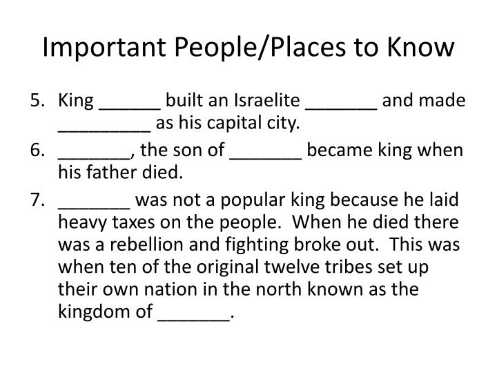 Important People/Places to Know