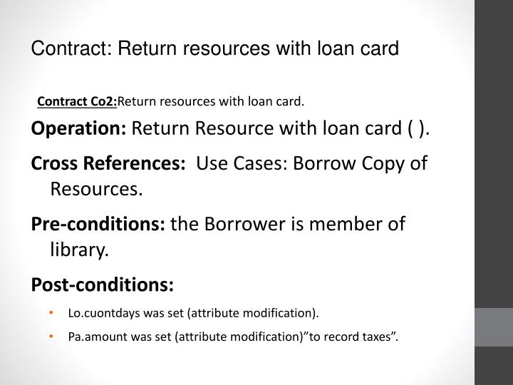 Contract: Return resources with loan card