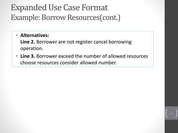 Expanded Use Case Format