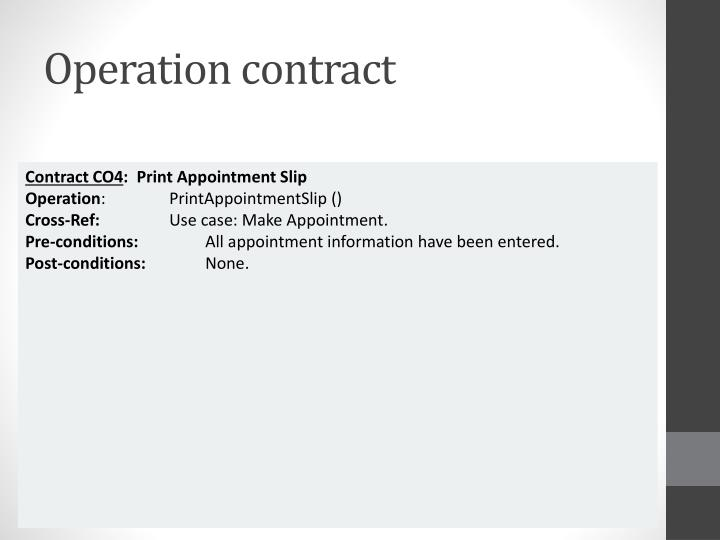 Operation contract